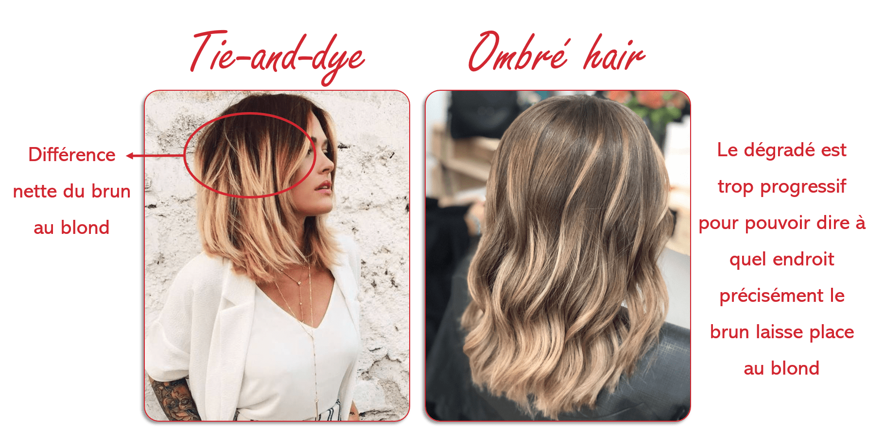Ombré hair contre Tie-and-dye